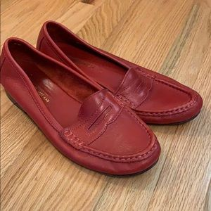 Antonio Melani red leather penny loafers